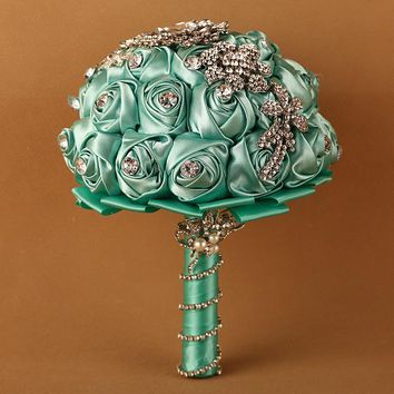 1pc/lot tiffany wedding flower bouquets fleur bleu roi bridal brooch bouquet crystal bouquet de mariage