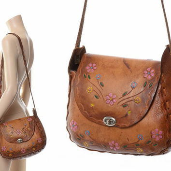 Vintage 60s 70s Mexican Hand Tooled Leather Bag 1960s 1970s Artisan Hand Painted Flowers Braided Hippie Bag Boho Shoulder Flap Purse