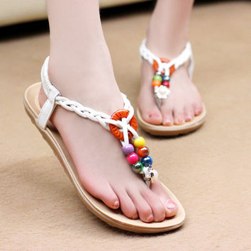 Womens Casual Summer Shoes Cheap Beach Flip Flops Bohemian Sandals Flats Hot Footwear