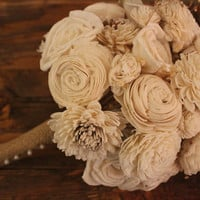 Medium Sola Flower Bridal Bouquet, Rustic Vintage Wedding, Outdoor Wedding, Country Wedding