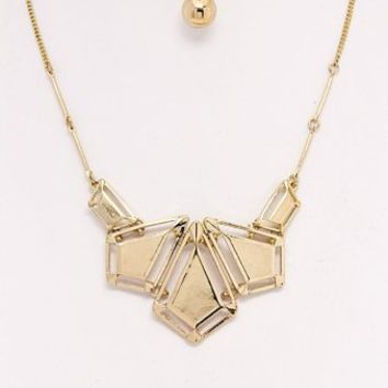 Gold-Geometric-Necklace/Earring-Set