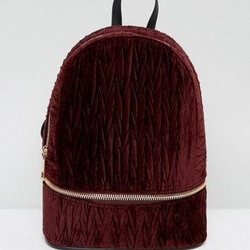 ASOS Velvet Crinkle Zip Base Backpack at asos.com