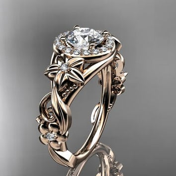 14kt pink gold diamond unique engagement ring,with 'Forever Brilliant' moissanite.ADLR300