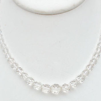 """Vintage Clear Crystal Graduated Bead Necklace 17"""""""
