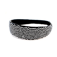 African headband fair trade Kenya beaded tribal bohemian hair accessories hair bow eco friendly leather black and white