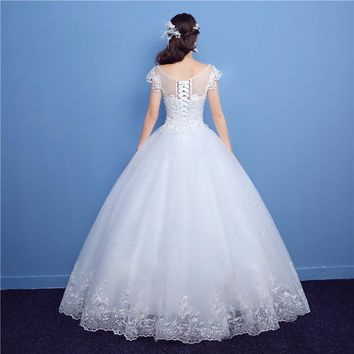 Lace Up Ball Gown Neck Wedding Dresses Cap Sleeve Bridal Dress