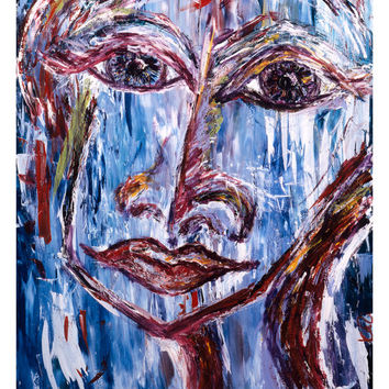Blue Living Room Art - Contemporary Art Print - Figurative Art Print - Living Room Art - Female Face - Soothing Blues - Serena