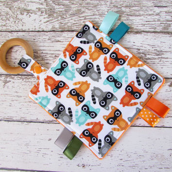 Crinkle Teether - Sensory Blanket,  Sensory Toy - Raccoons, RTS