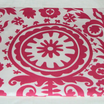 One Standard Bed Pillow Sham In Bright Pink and White Suzani Print Fabric