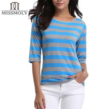 Miss Moly T-Shirts 2017 Autumn Fashion Women T-Shirt Stripe Boat Printed Loose Base Casual Long Sleeve O-Neck Tees Tops