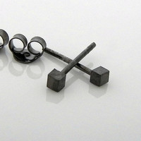 Mens Square Rustic Black Stud Earrings - 925 Sterling Silver - Small tiny stud- Brushed Matte Finish - Gauge Piercing Available  (no.465A)