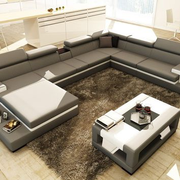 Divani Casa 5081 Grey and White Bonded Leather Sectional Sofa w/ Coffee Table