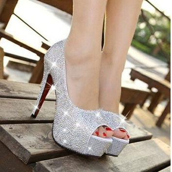 Women's Fashion Ultra Flash Diamond Wedding Shoes Fish Mouth Shoes High-Heeled Shoes White Nightclub Crystal Shoe Single Shoes Bride Shoes [7671548614]