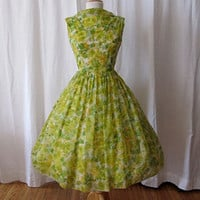 lovely 1950's floral chiffon print new look party by wearitagain