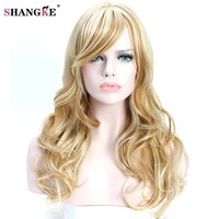 "SHANGKE 24"" Long Wavy Synthetic Wigs Blonde For  Women Natural Blond Hair Heat Resistant Synthetic Fake Hair Wigs"