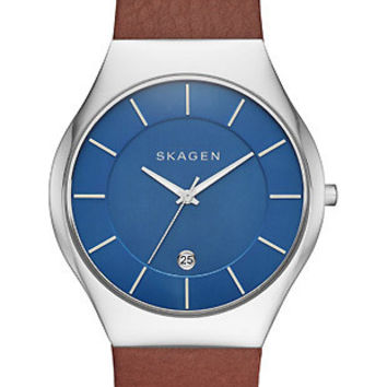 Skagen Mens Grenen Date Watch - Blue Dial - Stainless Steel - Brown Leather
