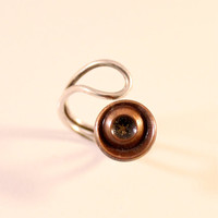 Copper & Origami Paper Ring with Sterling Silver Adjustable Band- size 3, size 4, size 5, size 6