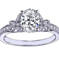 Engagement Ring - Oval Diamond Butterfly Engagement ring Pave band 0.24 tcw in 14K White gold - ES964OVWG
