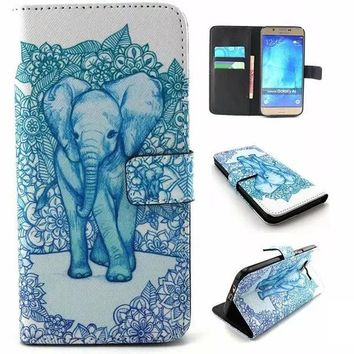 Blue Elephant Print Leather Case Cover Wallet for iPhone & Samsung Galaxy-170928