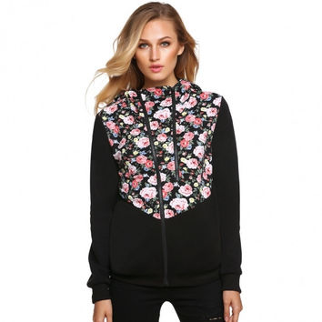 Sweet Ladies Women Casual Floral Fabric Patchwork Spring Autumn Thick Hoodies