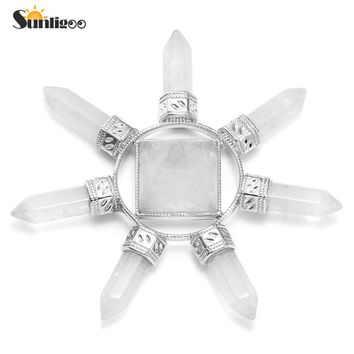 Sunligoo Pyramid Crystal Energy Generator Clear Quartz Chakra Stone Points Seven Direction Reiki Stone for Healing Meditation