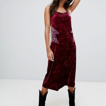 Anna Sui Crushed Velvet Starburst midi Slip Dress at asos.com