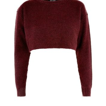 Burgundy Cropped Jumper | New Look