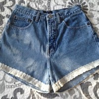 Lace Trim Light Wash High Waisted Shorts from Charleston Denim Co.
