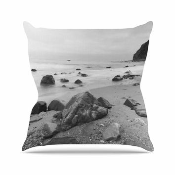 "Nick Nareshni ""Water Moving Around Rocks"" Gray Black White Throw Pillow"