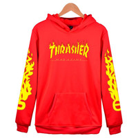 """Thrasher"" Fashion women and man letters Hooded pullover Hedging long sleeve top sweater coat"