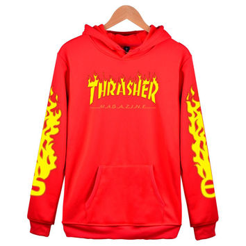 """""""Thrasher"""" Fashion women and man letters Hooded pullover Hedging long sleeve top sweater coat"""