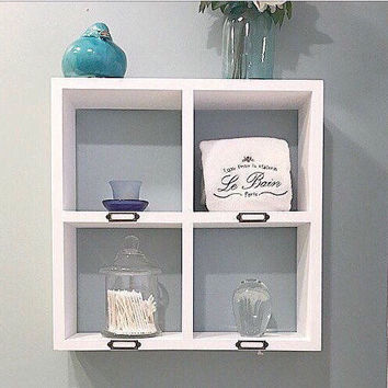 White Bathroom Storage - Wall Shelves - Floating Shelves - Bathroom Organizer - Floating Shelf - Over the Toilet Storage - Kitchen Decor