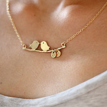 Gold Bird Necklace, Tiny Initials Necklace, Love Bird Necklace