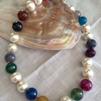 Pearl Majorca Beads + Colorful Quartz Necklace free shipping hand made beads knotted pearl beds necklace Mother's Day Easter birthday gift