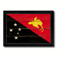 Papua New Guinea Country Flag Vintage Canvas Print with Black Picture Frame Home Decor Gifts Wall Art Decoration Artwork