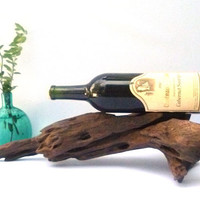 Reclaimed Wood Wine Rack, Driftwood Sculpture, Wine Display, Driftwood Bottle Holder, Unique Bar Accessory, Dining Room, Centerpiece,