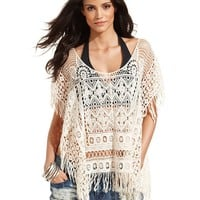 Miken Crochet Fringe Poncho Cover Up