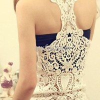 100% Cotton White Women's Back Hollow Lace Sleeveless T-shirt