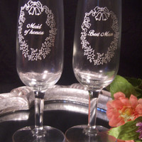 Vintage Maid of Honor and Best Man Wedding Glass Set!