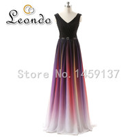 Fast Shipping 41% Discount Real Photo V-neck Prom Dresses Vestido de Festa Floor Length Long Evening Dresses Ombre Party Dress