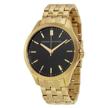 Armani Exchange Black Dial Gold-plated Stainless Steel Mens Watch AX2145