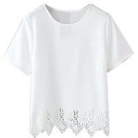 White Asymmetric Short Sleeve T-Shirt