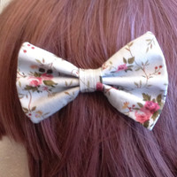 Kawaii Harajuku Country Lolita Gyaru Dolly Decora Mori Girl Otome Japanese Fashion Soft Grunge Tumblr Fashion Blue Floral Hair Bow Tie