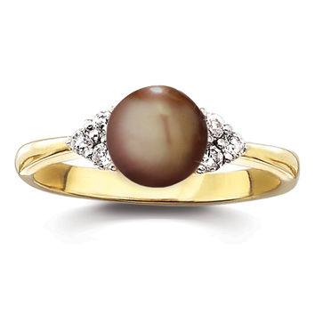 Genuine Freshwater Chocolate Pearl and Cubic Zirconia Ring