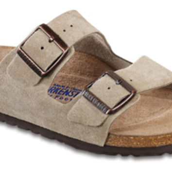 "Birkenstock <span class=""footbed"">Soft Footbed</span> <span class=""color"">Taupe</span> <span class=""material"">Suede</span> <span class=""silhouette"">Arizona</span>"
