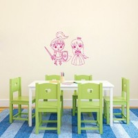 Wall Vinyl Decal Sticker Art Design Knight and Princess Cartoon Baby Room Nice Picture Decor Hall Wall Chu347