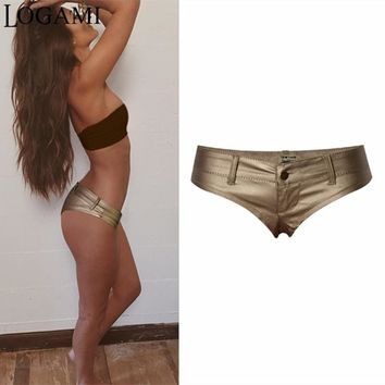 LOGAMI Shorts Women Low Waist Pu Leather Mini Shorts Sexy Micro Shorts Pantalones Cortos De Las Mujeres