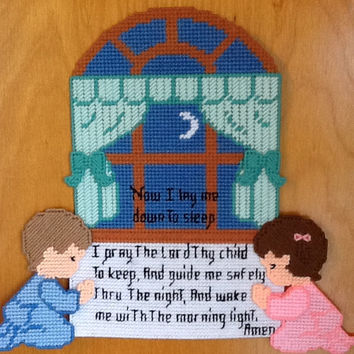 SALE-TAKE 15% OFF Needlepoint Wall Hanging, Childs Goodnight Prayer