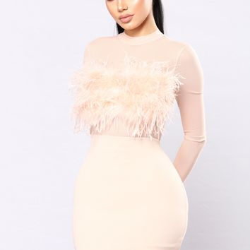 Secret Diary Fuzzy Dress - Blush