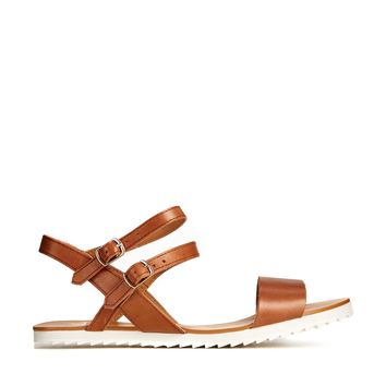 Shellys London Antea Tan Leather Ankle Strap Sandals